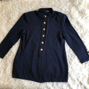 St. John Basics Navy Gold Buttons Jacket Coat